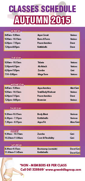Autumn Classes at the Greenhills Leisure Centre - Greenhills Hotel Limerick
